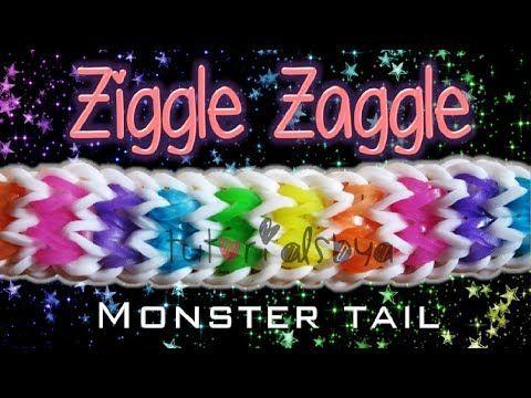 NEW Ziggle Zaggle MONSTER TAIL Rainbow Loom Bracelet Tutorial
