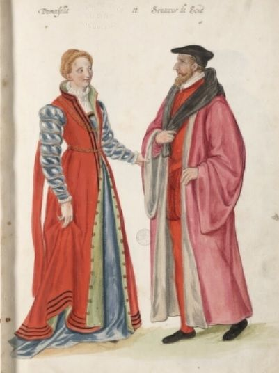 "I like her over gown, and sleeves.  Caption says ""damoiselle et senateur de sene"", which might mean 'young woman and senator of Sene"".  D'Heere, Lucas. 1575.  Page 20 http://adore.ugent.be/OpenURL/app?id=archive.ugent.be:1EEACAD8-B1E8-11DF-966C-0D0679F64438&type=carousel"