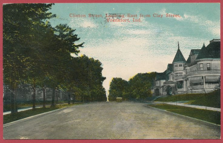 Clinton Street Looking East from City Street Frankfort Ind Indiana IN postcard