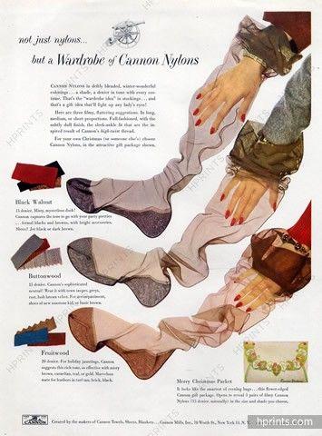 Cannon Nylons 1949 Stockings Hosiery — Lingerie — publicité ancienne originale