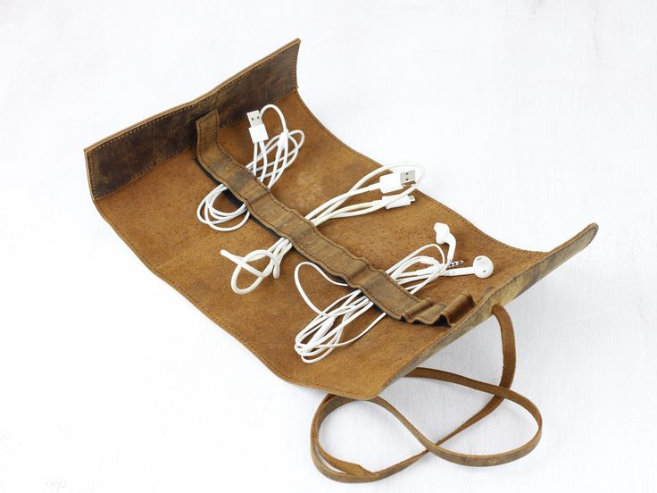 Leather Cord Organiser from Scaramanga's tech accessory collection