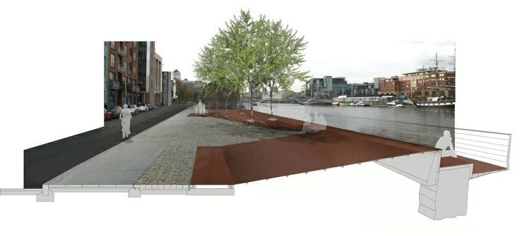 Dublin docklands Authority looked for ideas for a quayside landscape treatment which would act as a flood relief barrier for the river liffey. City Engineers required a 450mm high barrier. this was integrated into a new surface and folds down over the quay wall to form a new pedestrain route at the edge of the river.