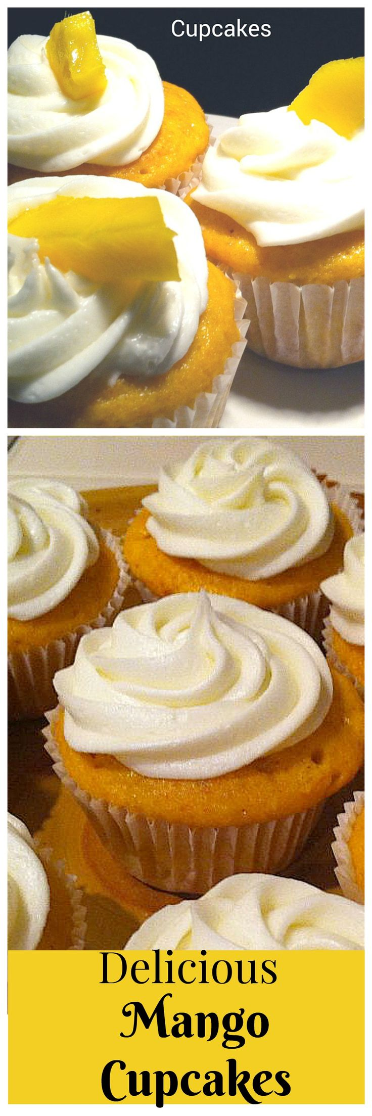 Simple mango cupcakes recipe - Made with fresh mango and a boxed cake mix - a perfect summer dessert!