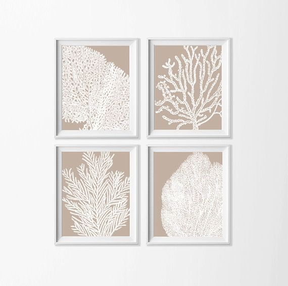 Taupe Coral Wall Art Beach Art Printable Shore By NauticalFive