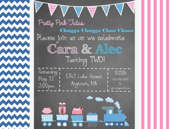 Trains and Tutus Birthday Invitation by EgyptianfrogDesigns
