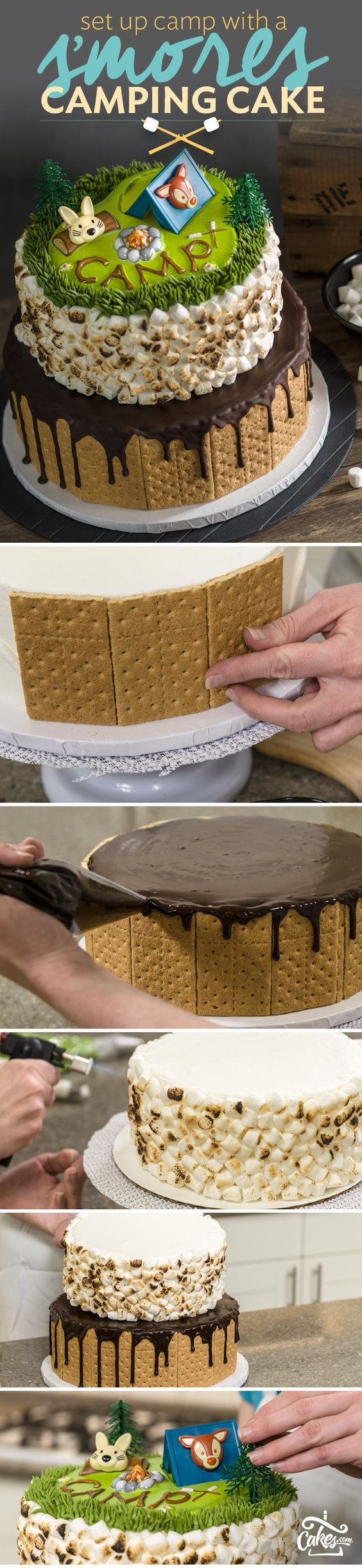 Learn how to make a S'mores cake with camping details and toasted marshmallows. Click for full cake decorating tutorial.