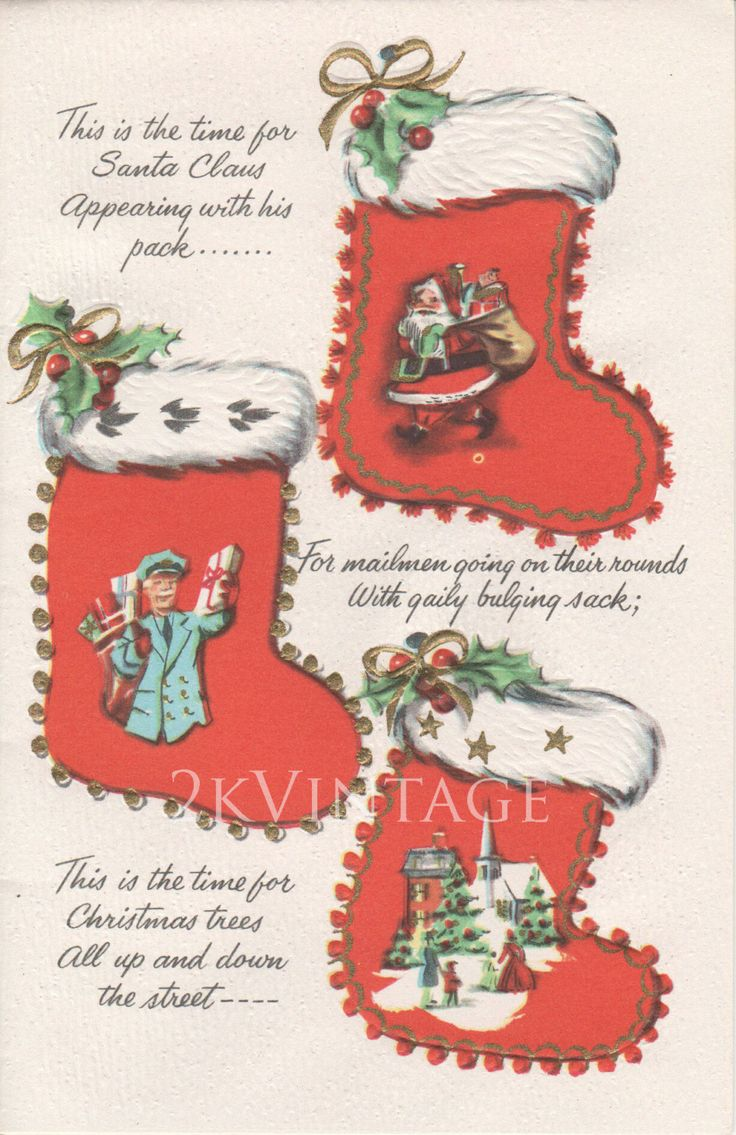 82 best vintage greeting cards images on pinterest vintage cards vintage christmas greeting card santa claus and mailman christmas stockings circa 1950s 2kvintageshop on kristyandbryce Choice Image