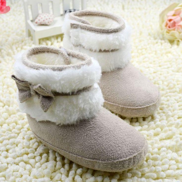 Promation скольжению Детские Сапоги Зима Сначала Ходунки Мода Детская Обувь для Девочек Мех Снегоступы Теплые Сапоги С Бантом