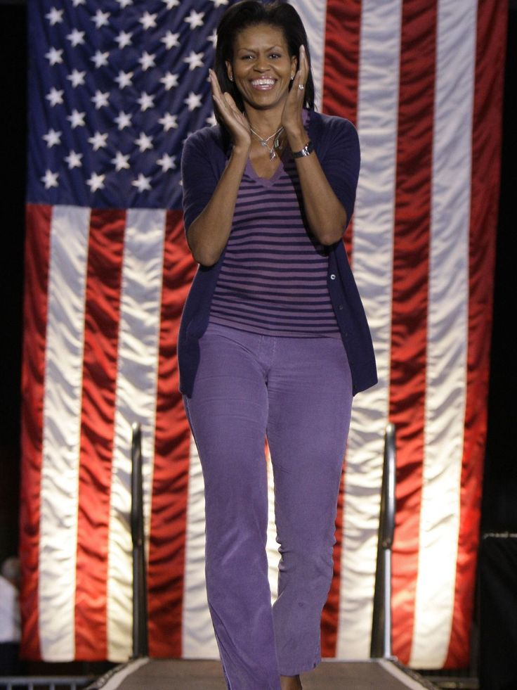 Michelle Obama, wife of Democratic presidential candidate Sen. Barack Obama, D-Ill., entered a rally at Parkview High School in Springfield, Mo. Saturday, Nov. 1, 2008.