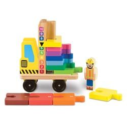 """The Stack & Count Forklift provides a chance for young children to practice counting skills while playing. Wooden forklift comes with 10 painted blocks that link together like puzzle pieces to create a numbered """"road"""". Simply stack the blocks back in place when it's time for the forklift to move. Includes a wooden driver that can be removed from the driver's seat for added fun. For ages 3 and up."""