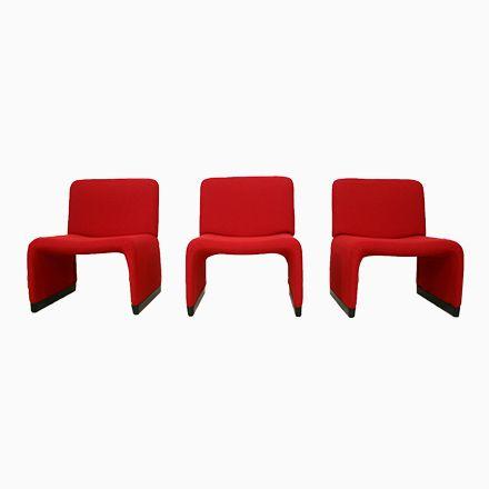 Roter Lounge Sessel Mit Hopsak Bezug Von Giancarlo Piretti Für Castell...  Jetzt Bestellen