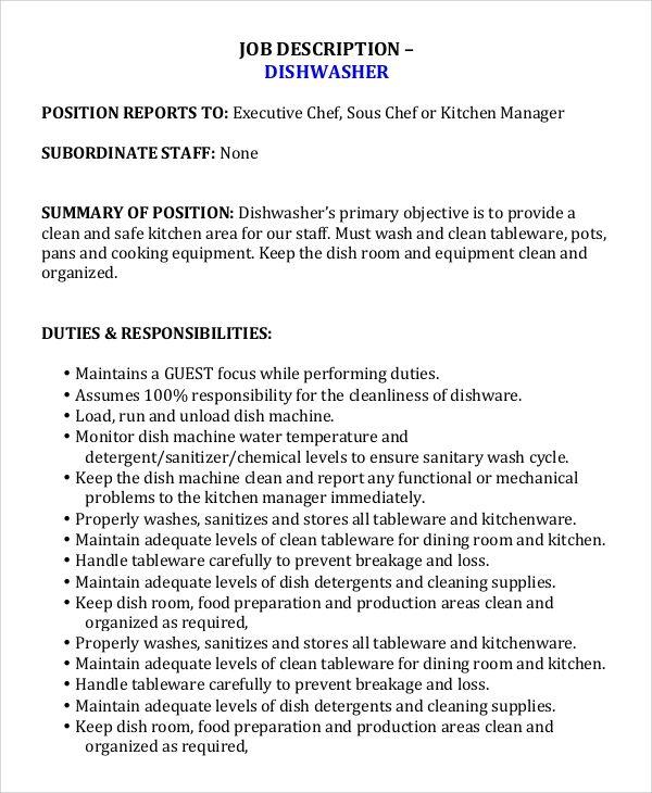 Amp Pinterest In Action Job Description Job Description Template Chef Resume