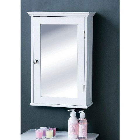 bathroom cabinet in white wood with a mirrored door wall mounted