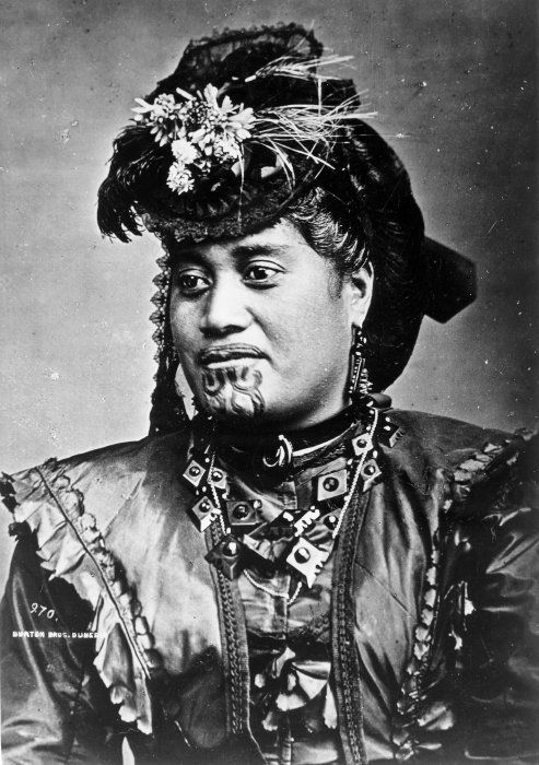 This photograph of a Maori woman- (Dunedin, late 19th c.) would give any modern Goth or Emo a run for their money