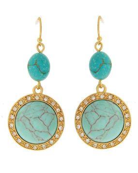 Turquoise Rhinestone Gold Tone Circle Oval Dangle Earrings