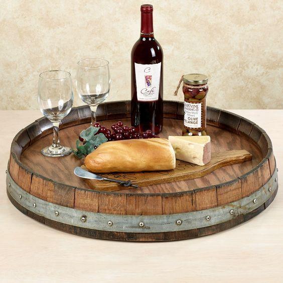 Wine Barrel Lazy Susan Walnut