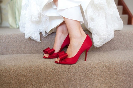 Very nice very red bridal shoes