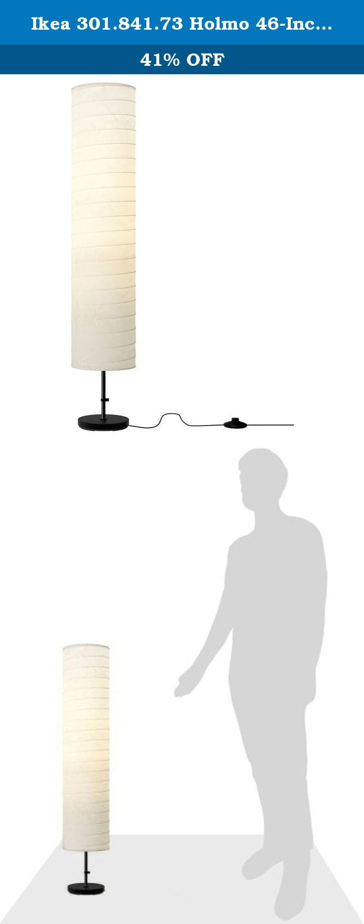 "Ikea 301.841.73 Holmo 46-Inch Floor Lamp. Good to know: Light bulb sold separately, Product description, Base: Polyethylene, Concrete, Cover: Polypropylene, Expander/Tube: Steel, Powder coating, Shade: Rice paper, Product dimensions, Height: 46 "", Shade diameter: 9 "", Cord length: 9 ' 2, No Bulbs Included. IKEA recommends LEDARE LED bulb E26 400 lumen.Product description . Base: Polyethylene, Concrete , Cover: Polypropylene , Expander/ Tube: Steel, Powder coating and Shade: Rice paper."