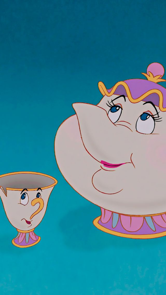 Mrs Potts and Chip Potts from the beauty and the beast