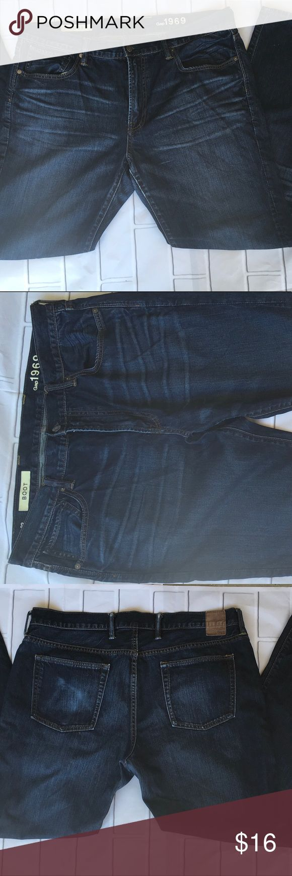 GAP Men 1969 Standard Fit Jeans Size 38X32 GAP Men 1969 Standard Fit Jeans, Medium wash, Factory Distressing, Size 38X32, 100% Cotton, Ringspun Denim, Machine wash inside out cold water, clean and Smoke Free Home GAP Jeans Bootcut