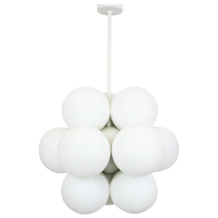 Kaiser Sputnik Molecular Shape Chandelier, 12 Opal Glass, Germany, 1970s | From a unique collection of antique and modern chandeliers and pendants at https://www.1stdibs.com/furniture/lighting/chandeliers-pendant-lights/