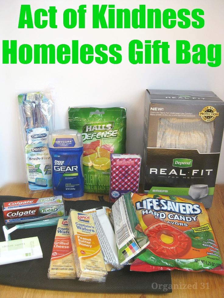 Act of Kindness Homeless Gift Bag - Organized 31   Make your own pay it forward charity gift.