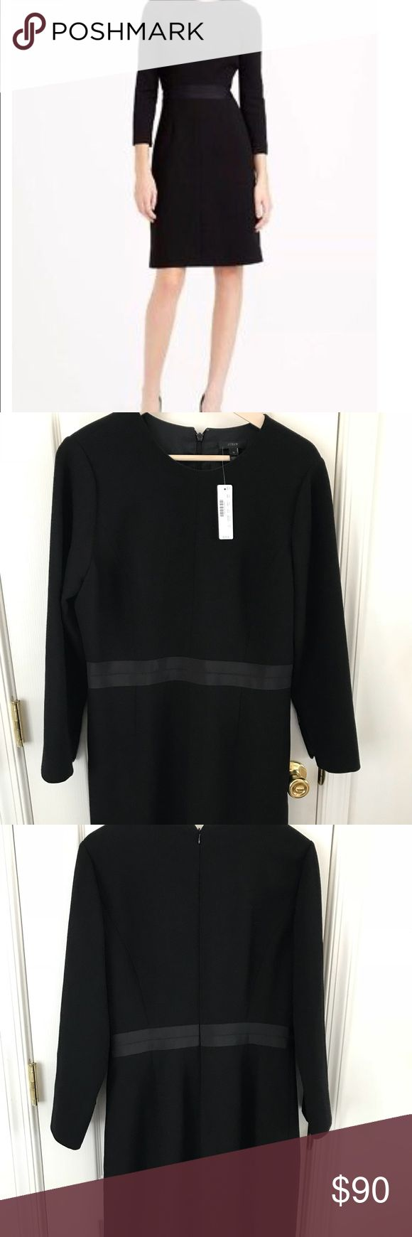 New J CREW $228 Black Wool Crepe Dress Sz 12 NWT J.Crew Double Faced Wool Crepe Dress (black) Size 12 Item C1063. With bracelet-length, zip sleeves and a defined grosgrain waistband. Fitted silhouette, bracelet sleeves. Invisible back zipper. Dry clean only. J.Crew Factory Dresses