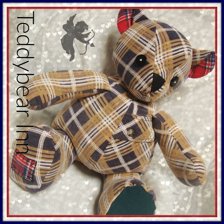 Memory teddy bear made from the flannelette shirt of a very loved and missed father, husband and grandfather.