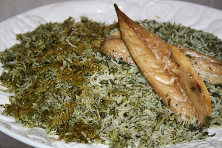 Sabzi polo mahi herb rice with fish is a popular for Rice dishes with fish