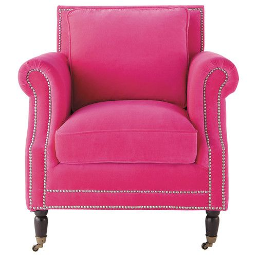 Velvet Armchair In Fuchsia Dandy