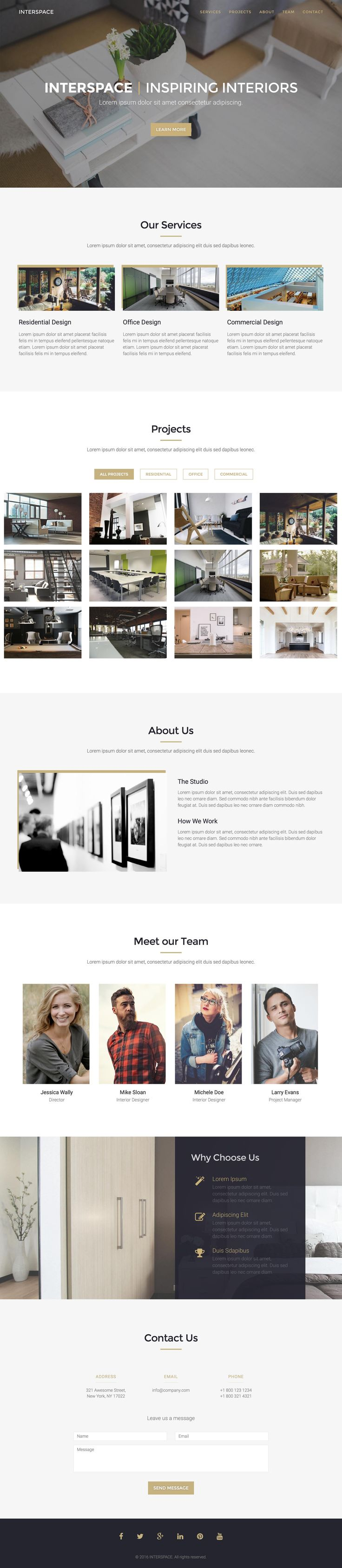 Interspace is a One Page HTML template suited for interior design, furniture and architecture company portfolios. Features include fixed header navigation, image gallery with popup preview and category filter, team and a contact form.