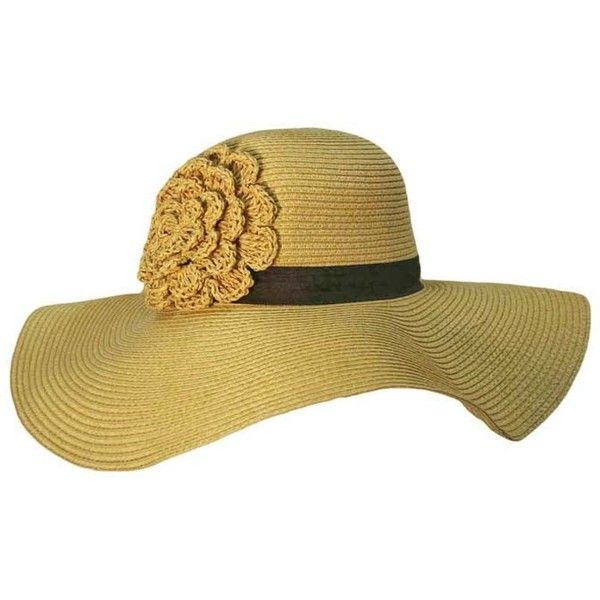 Natural Floppy Sun Hat With Crochet Flower ($24) ❤ liked on Polyvore featuring accessories, hats, floppy, natural, crochet crown, paper hats, sun hat, beach hat and floppy hat