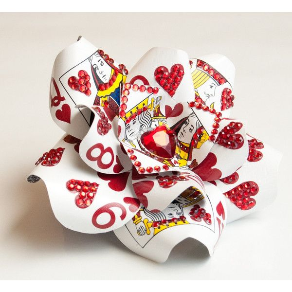 Alice in Wonderland Playing Card Rhinestone Heart Hair Flower... ($75) ❤ liked on Polyvore featuring accessories, hair accessories, alice in wonderland, flowers, disney, rhinestone hair accessories, flower fascinator, flower hair accessories, fascinator hat and hair fascinators