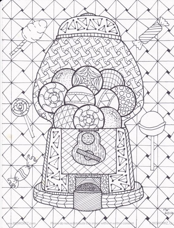 Gumball Machine Zentangle Coloring Page Digital Coloring