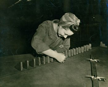 Rosie the Riveter: Women Working During World War II - 1944 Nevaire Gambrell working as a draftsman in the Loft and Template Department at Curtiss-Wright Corporation in St. Louis, MO