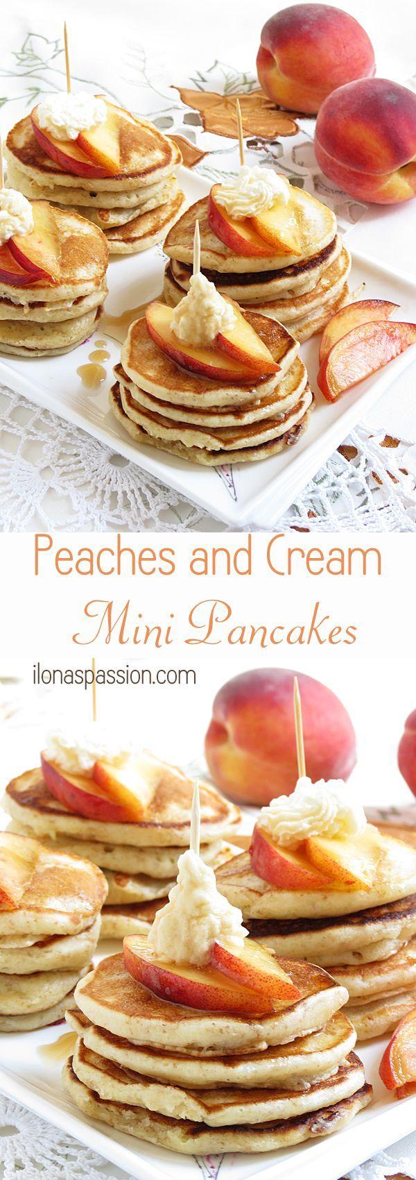 Peaches and Cream Mini Pancakes by http://ilonaspassion.com #pancakes #peachesandcream #teaparty