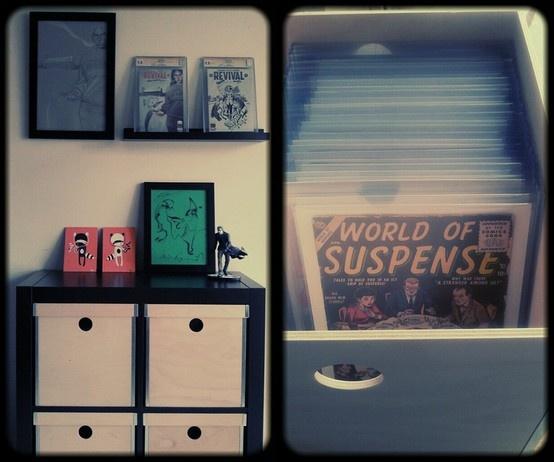 Minimal simplistic, comic book and art display. I like the design of the comic book boxes.