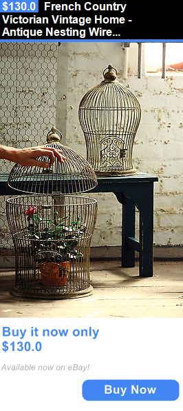 Home Decor: French Country Victorian Vintage Home - Antique Nesting Wire Bird Cage Set Of 2 BUY IT NOW ONLY: $130.0