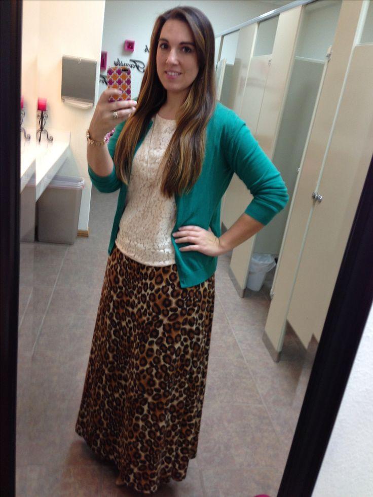 Green cardigan, white lace shirt, leopard maxi skirt