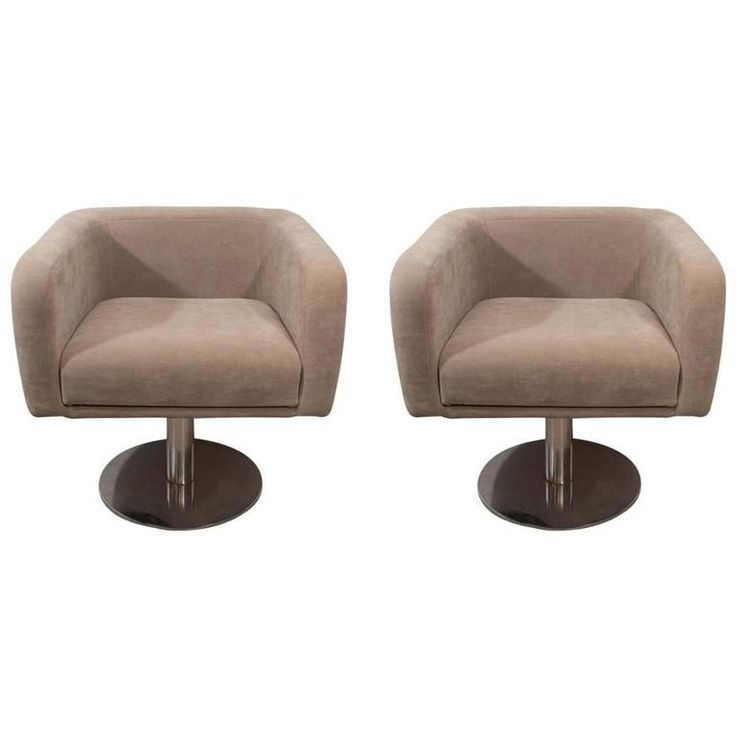 Pair Vintage Swivel Armchairs | From a unique collection of antique and modern armchairs at https://www.1stdibs.com/furniture/seating/armchairs/