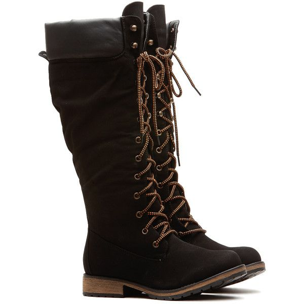 CiCiHot Black Faux Leather Calf Length Mountain Boots ($46) ❤ liked on Polyvore featuring shoes, boots, mid-calf boots, synthetic leather boots, black zip boots, black zipper boots and lace up boots