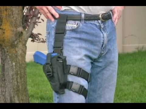 Our Drop Leg Tactical Thigh Holsters attach around your leg with two nylon straps and to your belt with one strap. We sell Tactical Holsters for both right and left hand use.