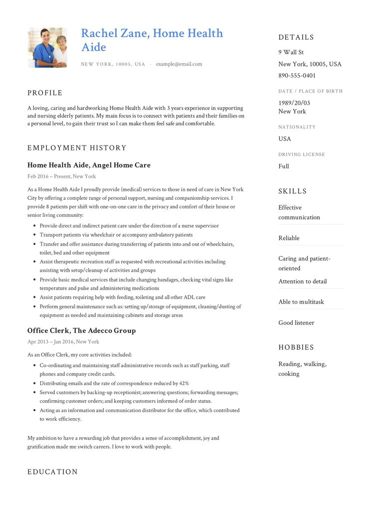 Home Health Aide Resume Sample & Writing Guide in 2020