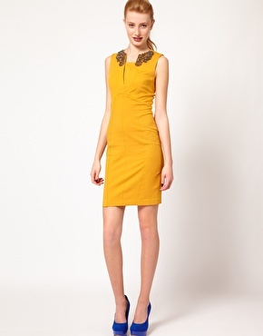 not-so-mellow yellow: Ted Baker Embellished Collar Dress
