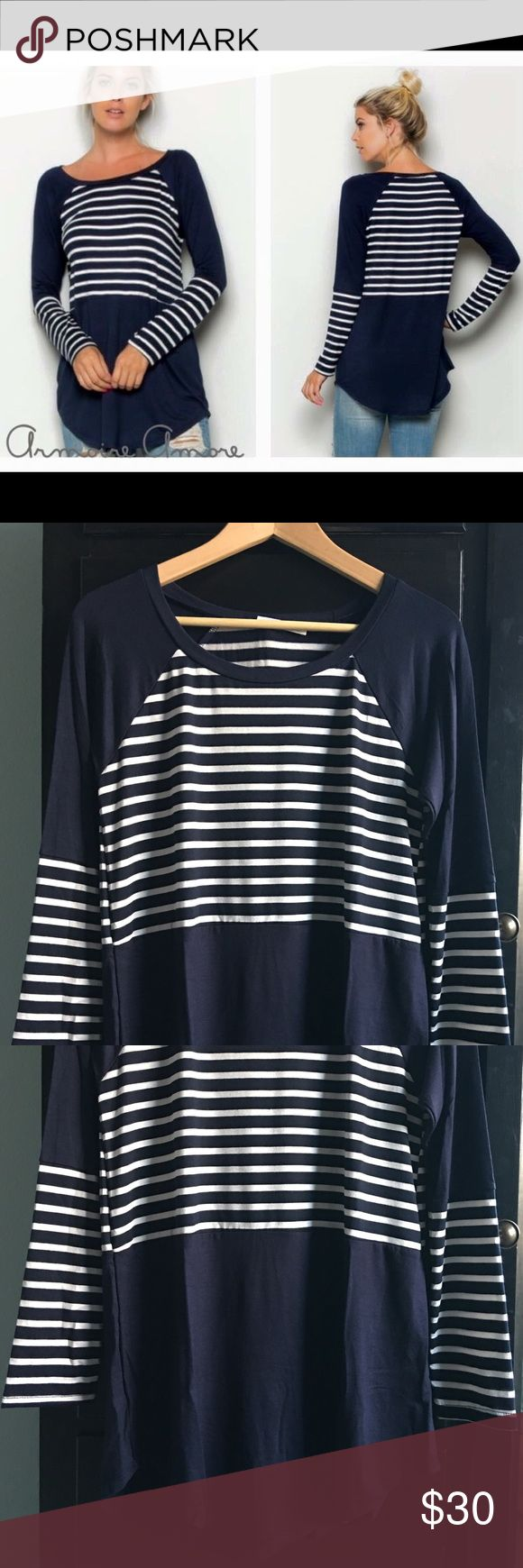 Navy Stripe Color Block Tee Navy stripes? Navy stripes!!!  Long sleeve tunic with splice and color block detail.  I am loving this top!  This top is versatile, wear with denim, leggings, shorts, any style can pull this off! I love navy stripes!  Tunic length covers your booty!  Did I say navy stripes?!  Made in US of A .  NWOT (from boutique) Sizes: Small (2-4), Large (8-10)  Tag a friend ❤️ Tops Tunics