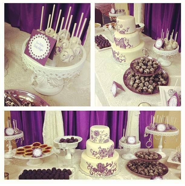 Royal purple + lace wedding desserts table.