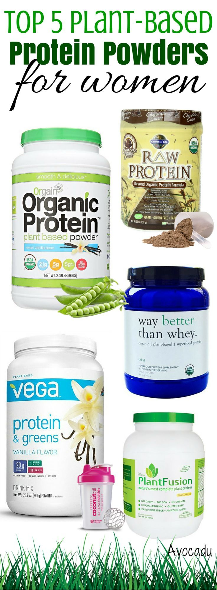 Protein is one of the most important parts of a healthy diet and can also help you lose weight! These are the best vegan and vegetarian protein powders! http://avocadu.com/top-5-plant-based-protein-powders-for-women/