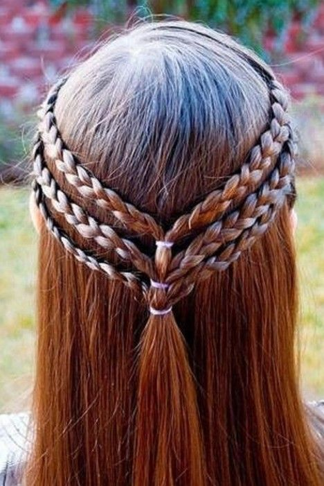 Triple-Braided Half Up Hairstyle for Girls