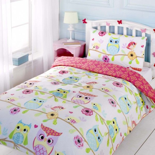 Kids Owl & Friends single duvet cover - Owl Themed Girls Bedrooms