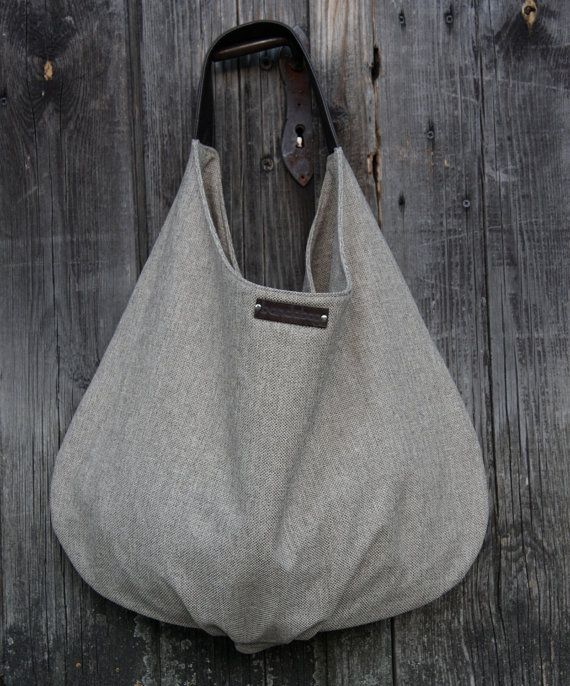 Beige shoulder bag large hobo canvas with genuine by bandabag